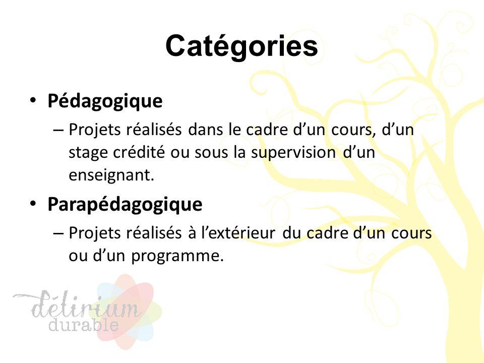 Catégories Pédagogique – Projets réalisés dans le cadre d'un cours, d'un stage crédité ou sous la supervision d'un enseignant. Parapédagogique – Proje