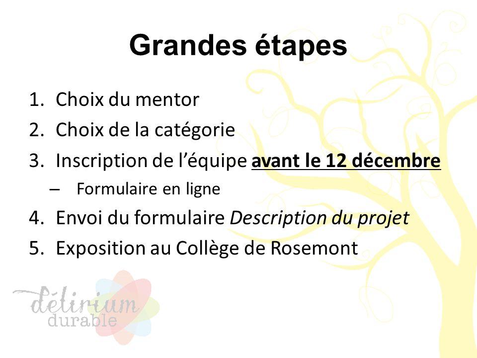 Grandes étapes 1.Choix du mentor 2.Choix de la catégorie 3.Inscription de l'équipe avant le 12 décembre – Formulaire en ligne 4.Envoi du formulaire De