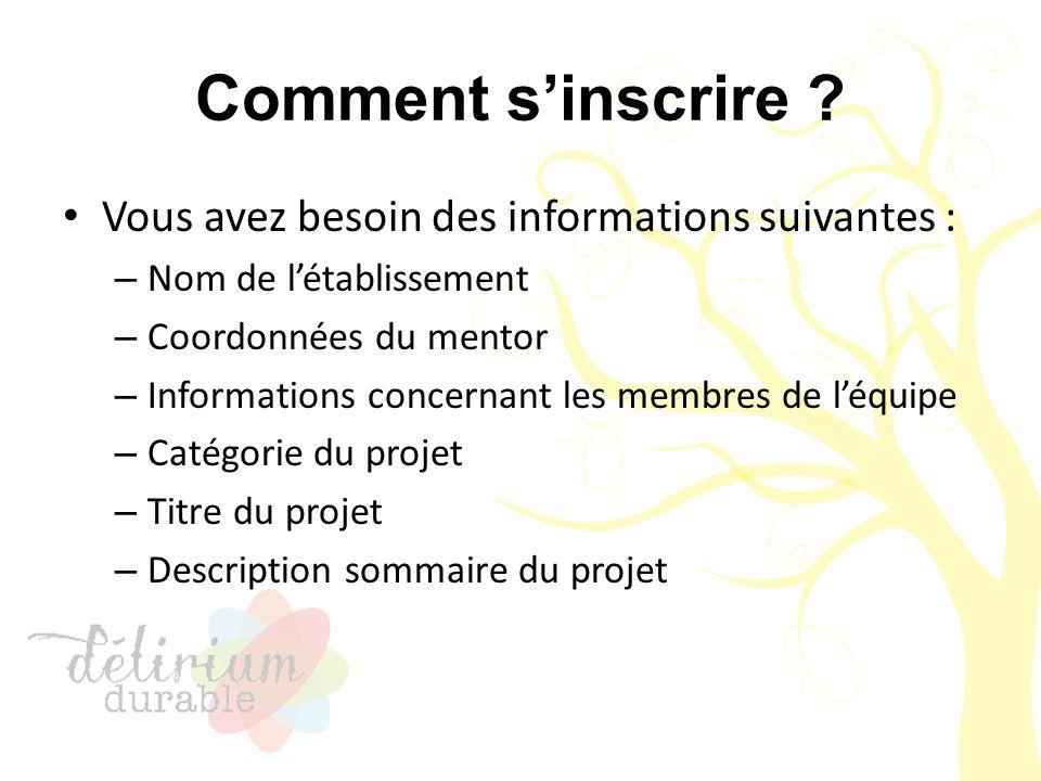 Comment s'inscrire ? Vous avez besoin des informations suivantes : – Nom de l'établissement – Coordonnées du mentor – Informations concernant les memb