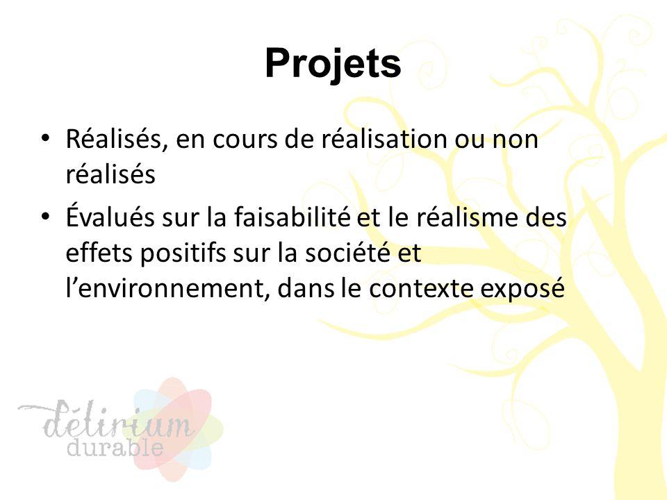Projets Réalisés, en cours de réalisation ou non réalisés Évalués sur la faisabilité et le réalisme des effets positifs sur la société et l'environnem