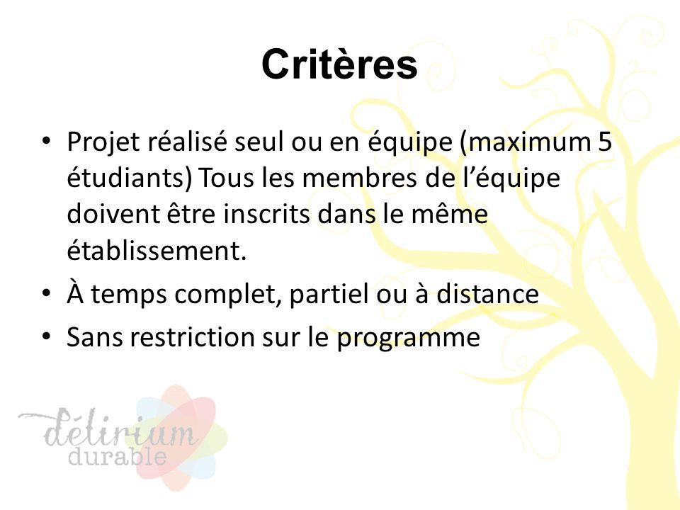 Critères Projet réalisé seul ou en équipe (maximum 5 étudiants) Tous les membres de l'équipe doivent être inscrits dans le même établissement. À temps