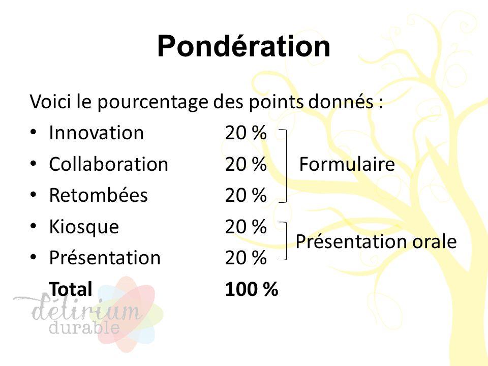 Pondération Voici le pourcentage des points donnés : Innovation 20 % Collaboration 20 % Retombées 20 % Kiosque 20 % Présentation 20 % Total 100 % Form