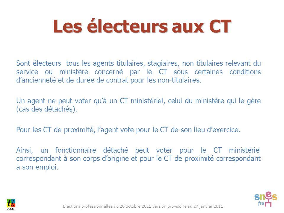 Elections professionnelles du 20 octobre 2011 version provisoire au 27 janvier 2011 Sont électeurs tous les agents titulaires, stagiaires, non titulai