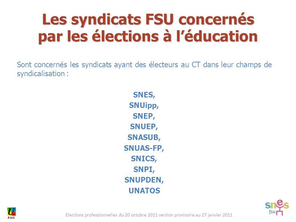 Elections professionnelles du 20 octobre 2011 version provisoire au 27 janvier 2011 Sont concernés les syndicats ayant des électeurs au CT dans leur c
