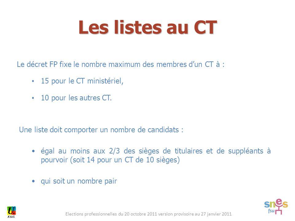 Elections professionnelles du 20 octobre 2011 version provisoire au 27 janvier 2011 Le décret FP fixe le nombre maximum des membres d'un CT à : 15 pour le CT ministériel, 10 pour les autres CT.