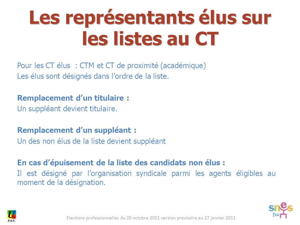 Elections professionnelles du 20 octobre 2011 version provisoire au 27 janvier 2011 Pour les CT élus : CTM et CT de proximité (académique) Les élus sont désignés dans l'ordre de la liste.
