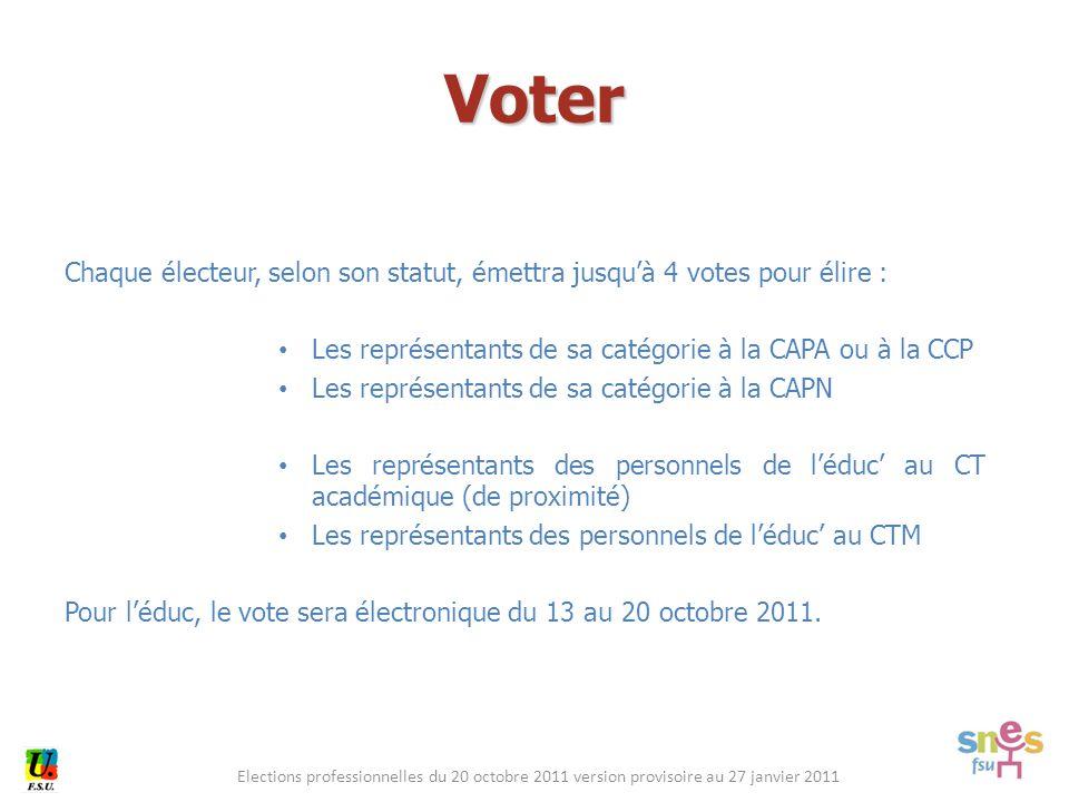 Elections professionnelles du 20 octobre 2011 version provisoire au 27 janvier 2011 Chaque électeur, selon son statut, émettra jusqu'à 4 votes pour él