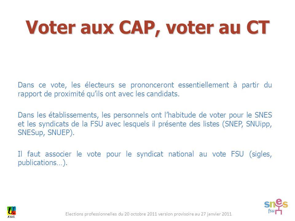 Elections professionnelles du 20 octobre 2011 version provisoire au 27 janvier 2011 Dans ce vote, les électeurs se prononceront essentiellement à partir du rapport de proximité qu'ils ont avec les candidats.