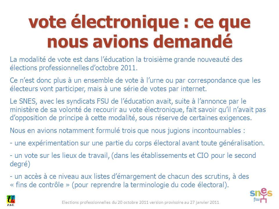 Elections professionnelles du 20 octobre 2011 version provisoire au 27 janvier 2011 vote électronique : ce que nous avions demandé La modalité de vote est dans l'éducation la troisième grande nouveauté des élections professionnelles d'octobre 2011.