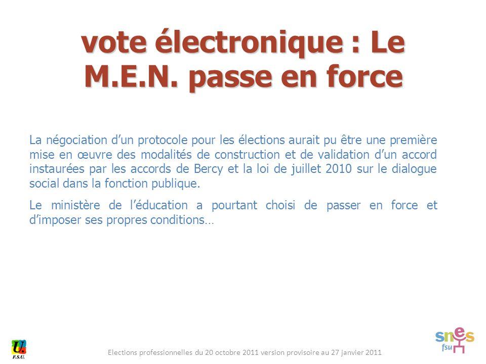 Elections professionnelles du 20 octobre 2011 version provisoire au 27 janvier 2011 La négociation d'un protocole pour les élections aurait pu être un