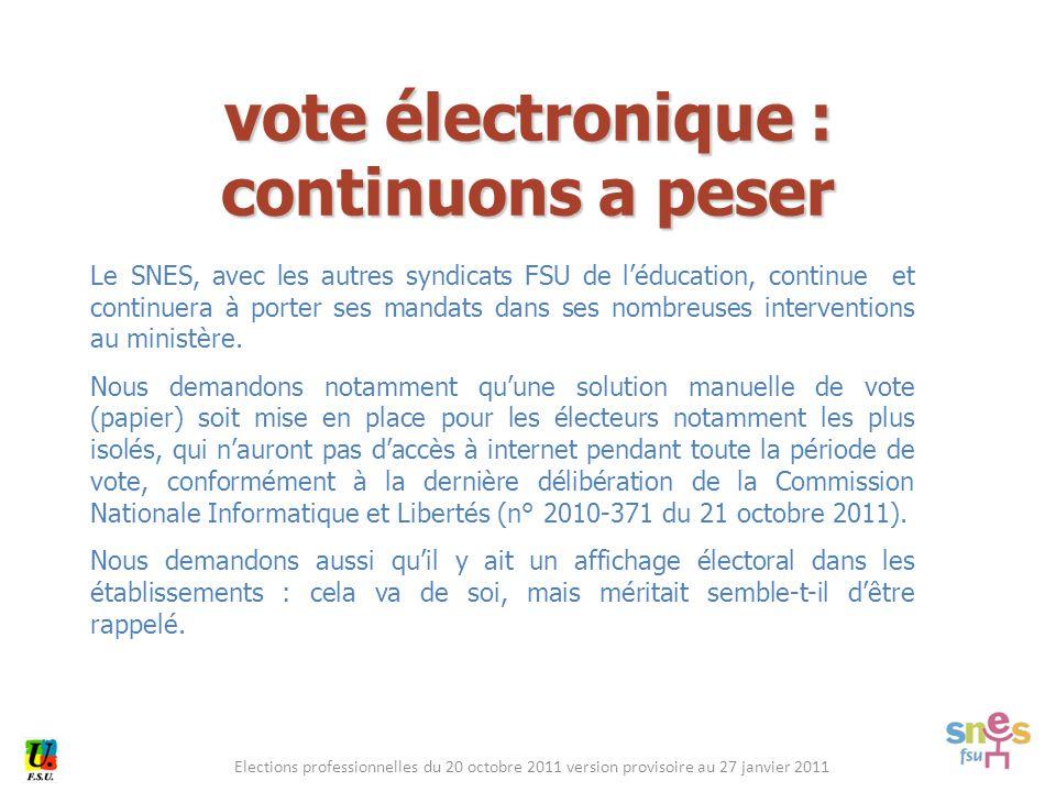 Elections professionnelles du 20 octobre 2011 version provisoire au 27 janvier 2011 Le SNES, avec les autres syndicats FSU de l'éducation, continue et continuera à porter ses mandats dans ses nombreuses interventions au ministère.