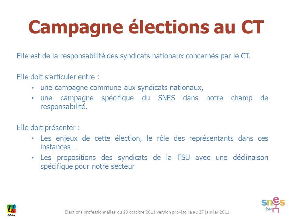 Elections professionnelles du 20 octobre 2011 version provisoire au 27 janvier 2011 Elle est de la responsabilité des syndicats nationaux concernés par le CT.