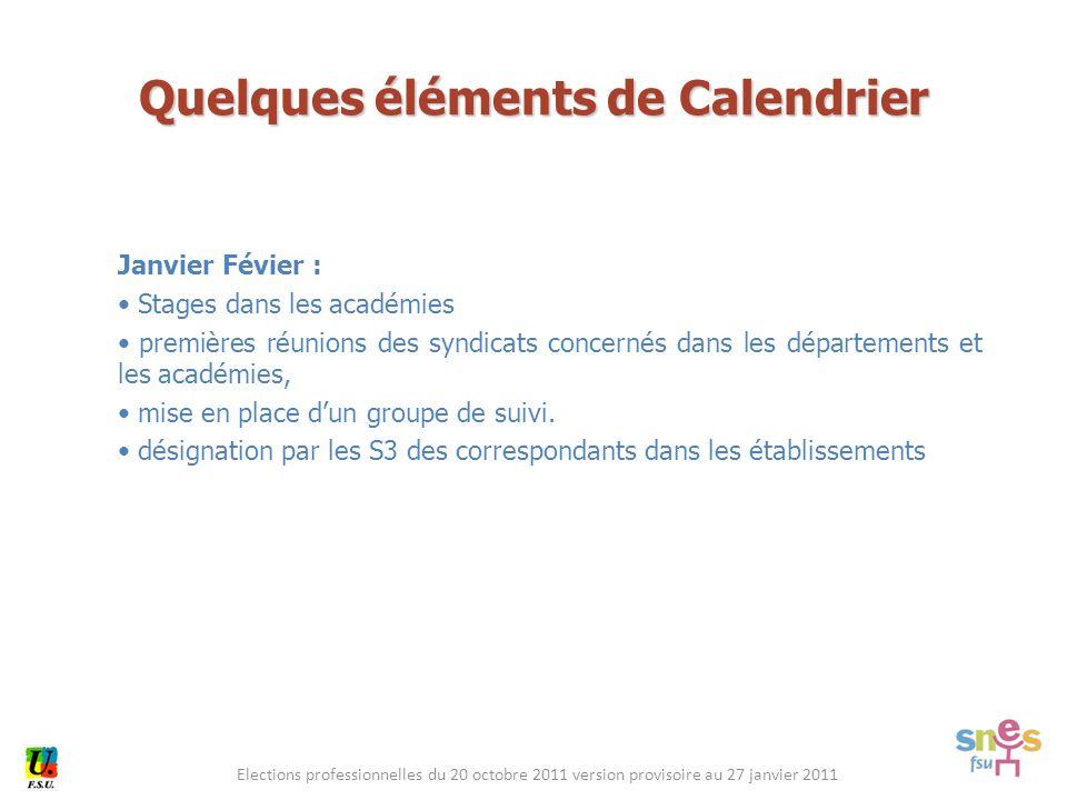 Elections professionnelles du 20 octobre 2011 version provisoire au 27 janvier 2011 Janvier Févier : Stages dans les académies premières réunions des syndicats concernés dans les départements et les académies, mise en place d'un groupe de suivi.