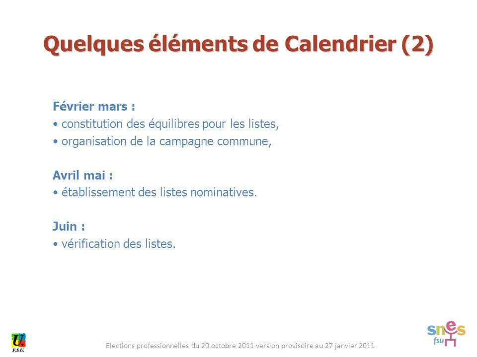 Elections professionnelles du 20 octobre 2011 version provisoire au 27 janvier 2011 Février mars : constitution des équilibres pour les listes, organi