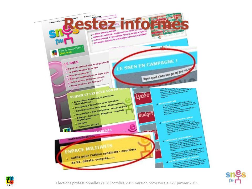Elections professionnelles du 20 octobre 2011 version provisoire au 27 janvier 2011 Restez informés