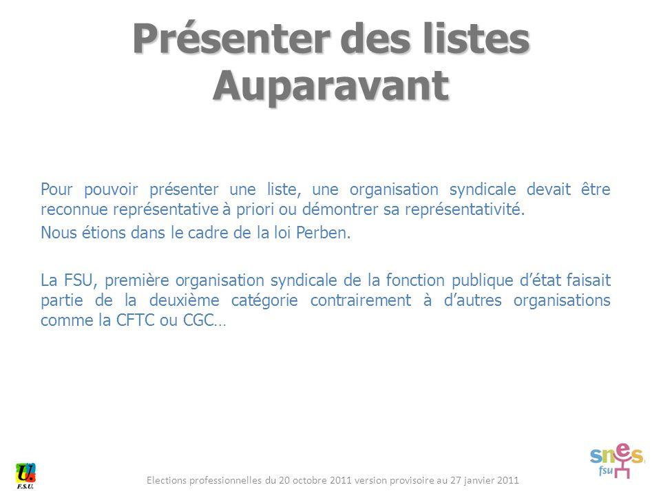 Elections professionnelles du 20 octobre 2011 version provisoire au 27 janvier 2011 Pour pouvoir présenter une liste, une organisation syndicale devait être reconnue représentative à priori ou démontrer sa représentativité.