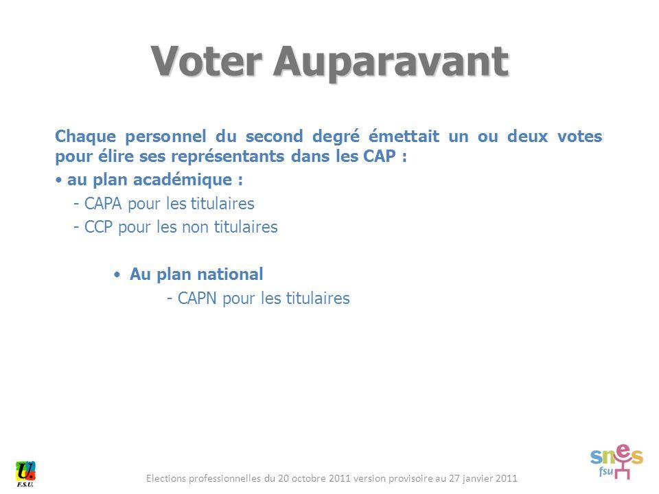 Elections professionnelles du 20 octobre 2011 version provisoire au 27 janvier 2011 Chaque personnel du second degré émettait un ou deux votes pour él