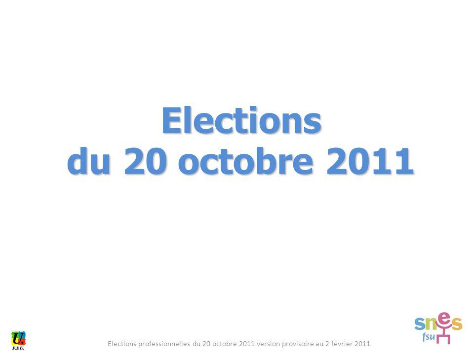 Elections professionnelles du 20 octobre 2011 version provisoire au 2 février 2011 Elections du 20 octobre 2011
