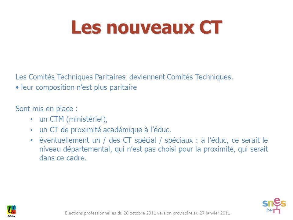 Elections professionnelles du 20 octobre 2011 version provisoire au 27 janvier 2011 Les Comités Techniques Paritaires deviennent Comités Techniques.