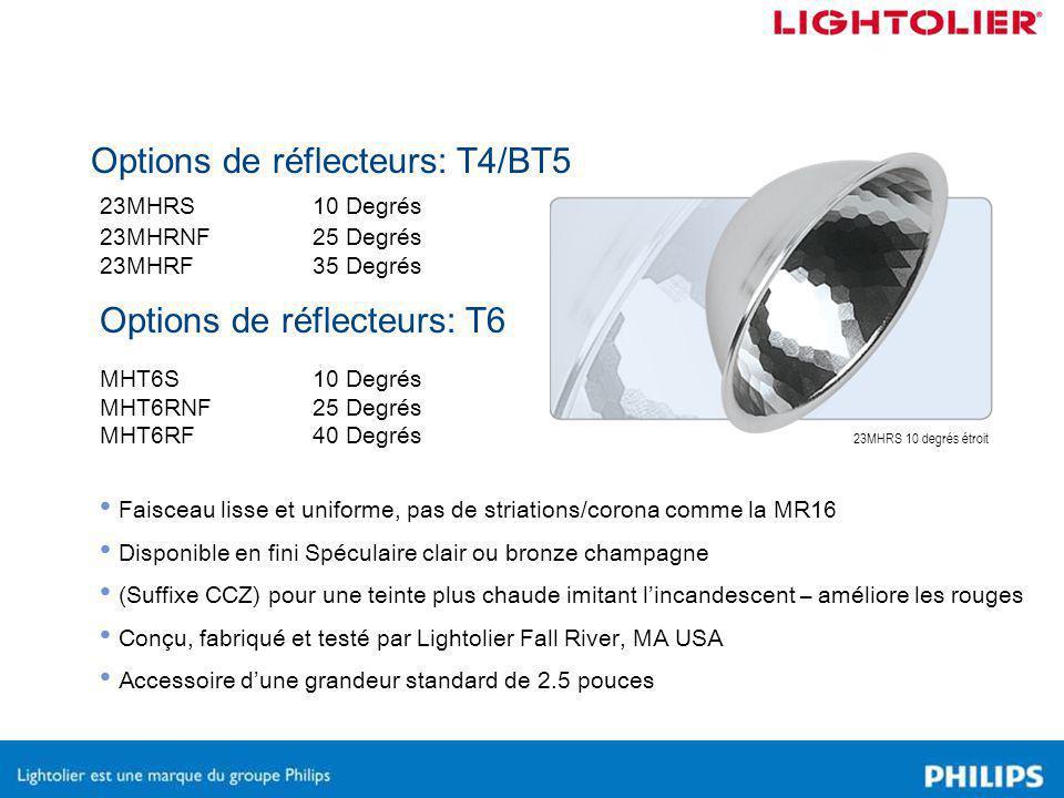 Options de réflecteurs: T4/BT5 23MHRS10 Degrés 23MHRNF25 Degrés 23MHRF35 Degrés MHT6S10 Degrés MHT6RNF25 Degrés MHT6RF40 Degrés Faisceau lisse et uniforme, pas de striations/corona comme la MR16 Disponible en fini Spéculaire clair ou bronze champagne (Suffixe CCZ) pour une teinte plus chaude imitant l'incandescent – améliore les rouges Conçu, fabriqué et testé par Lightolier Fall River, MA USA Accessoire d'une grandeur standard de 2.5 pouces Options de réflecteurs: T6 23MHRS 10 degrés étroit