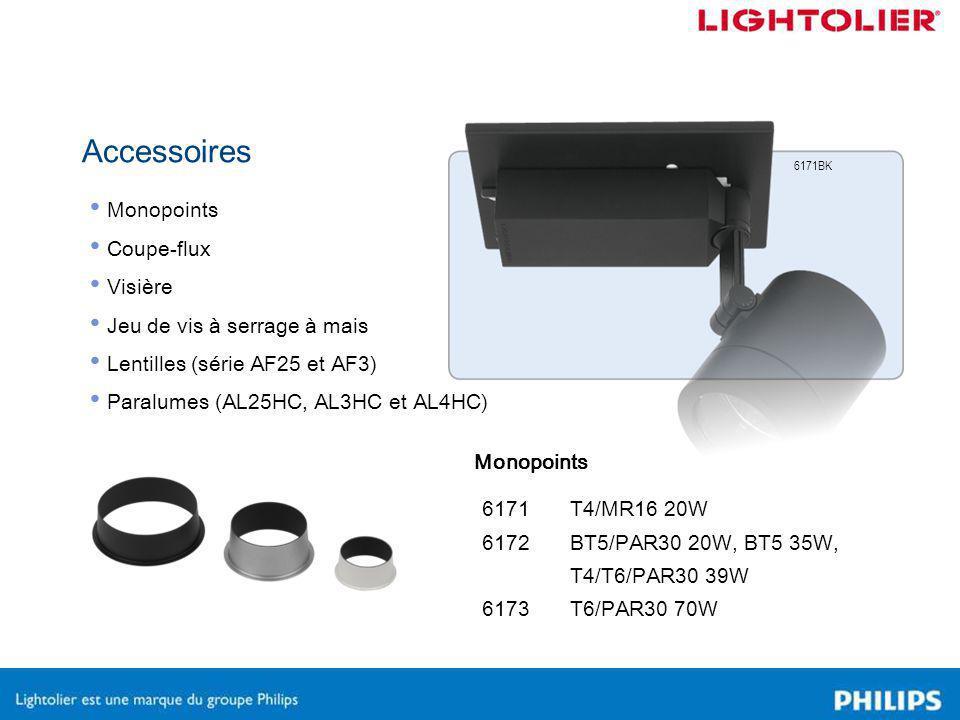 Accessoires Monopoints Coupe-flux Visière Jeu de vis à serrage à mais Lentilles (série AF25 et AF3) Paralumes (AL25HC, AL3HC et AL4HC) Monopoints 6171 6172 6173 6171BK T4/MR16 20W BT5/PAR30 20W, BT5 35W, T4/T6/PAR30 39W T6/PAR30 70W