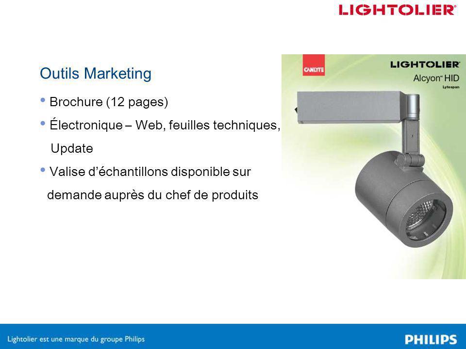 Outils Marketing Brochure (12 pages) Électronique – Web, feuilles techniques, Update Valise d'échantillons disponible sur demande auprès du chef de produits