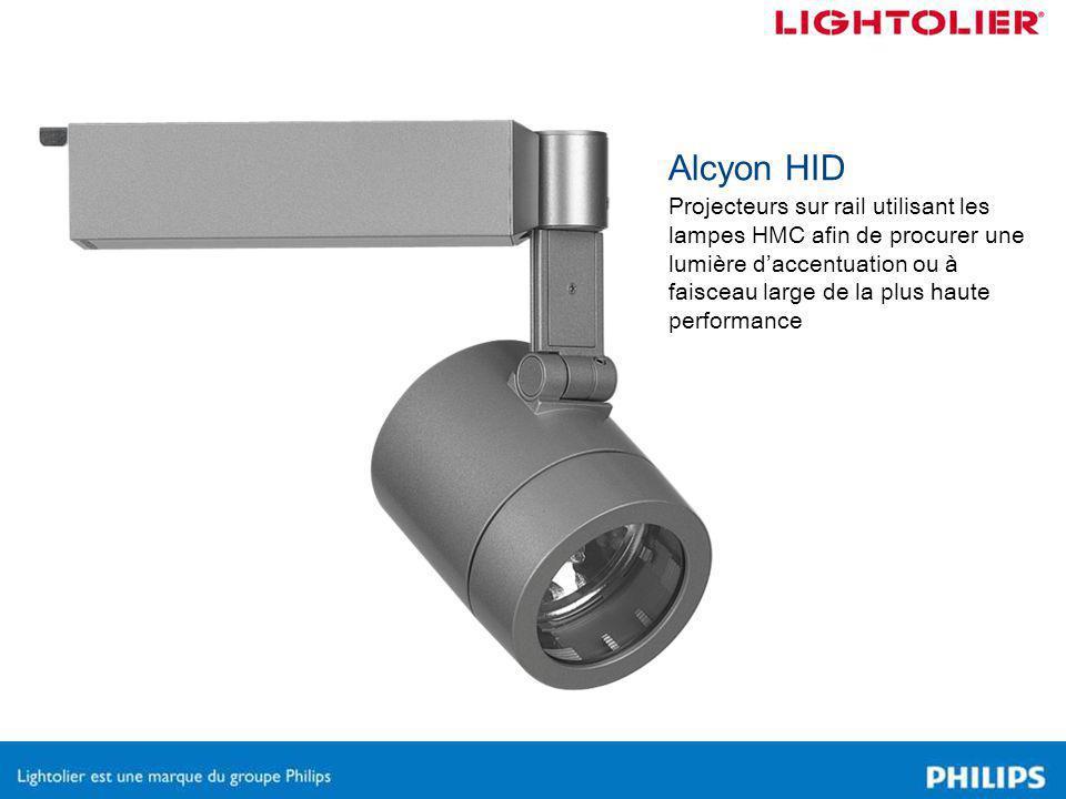 Alcyon HID Projecteurs sur rail utilisant les lampes HMC afin de procurer une lumière d'accentuation ou à faisceau large de la plus haute performance