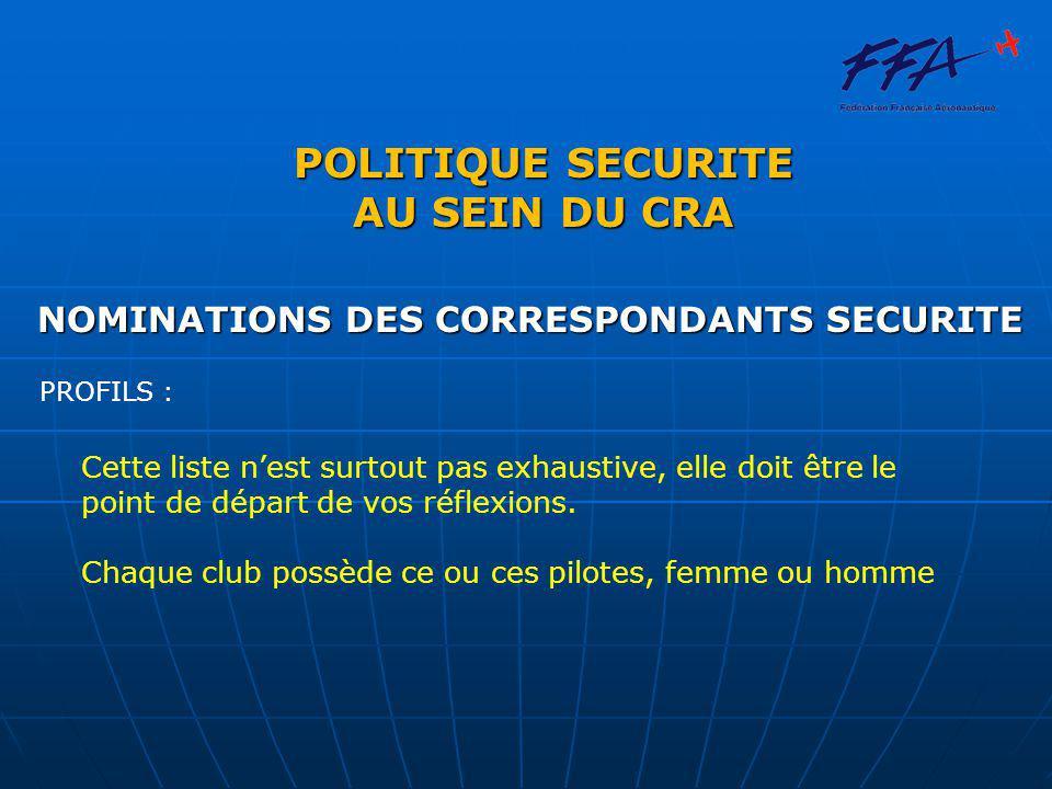 POLITIQUE SECURITE AU SEIN DU CRA NOMINATIONS DES CORRESPONDANTS SECURITE PROFILS : Cette liste n'est surtout pas exhaustive, elle doit être le point de départ de vos réflexions.