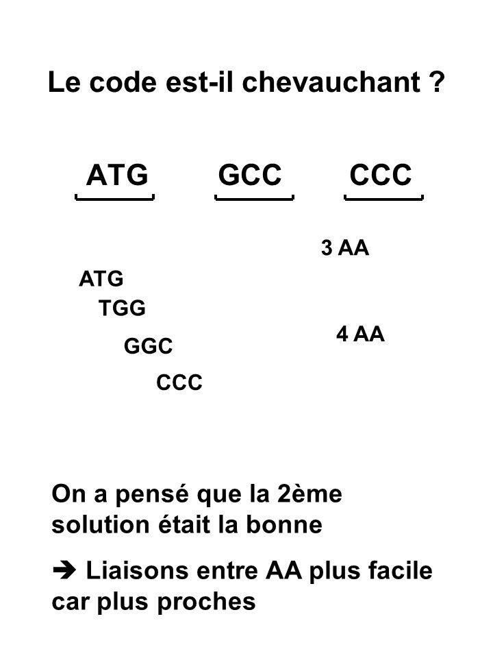 1 AA ne peut être suivi que par un autre choisi parmi 4 au maximum  Faux Si GCAALA CAA GLN ou CAG GLN ou CAC ASP ou CAU HIS
