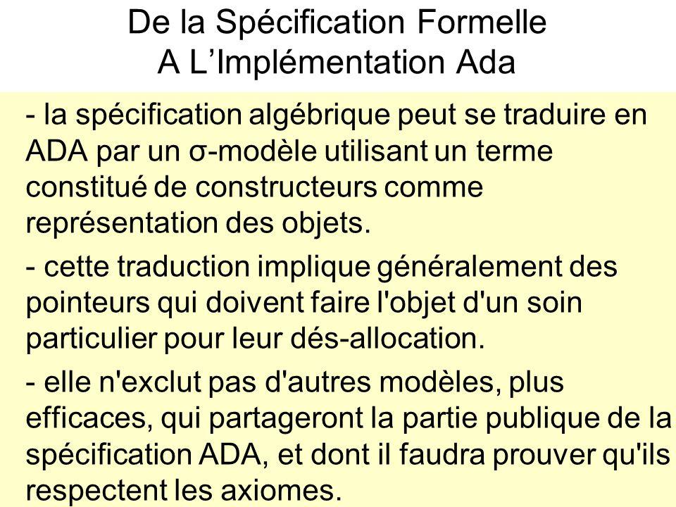 De la Spécification Formelle A L'Implémentation Ada - la spécification algébrique peut se traduire en ADA par un σ-modèle utilisant un terme constitué de constructeurs comme représentation des objets.