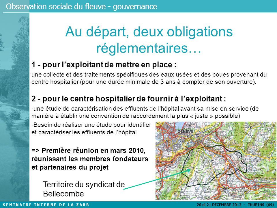 S E M I N A I R E I N T E R N E D E L A Z A B R 20 et 21 DECEMBRE 2012 - THURINS (69) Observation sociale du fleuve - gouvernance Un site d'expérimentation exceptionnel 1 hôpital neuf : Le centre Hospitalier Alpes Léman (CHAL) 445 lits, un réseau de collecte individualisé, mis en service en février 2012 Une STEP avec 3 filières de traitement : Filière 1 d'une capacité de 5 400 EH => entièrement dédiée aux effluents hospitaliers/3 ans Filières 2 et 3 de capacités 10 600 EH et 16 000 EH Un rejet dans l'Arve qui alimente une partie des ressources en eau destinée à la consommation humaine du Genevois
