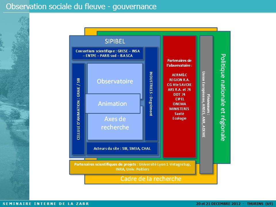 S E M I N A I R E I N T E R N E D E L A Z A B R 20 et 21 DECEMBRE 2012 - THURINS (69) Observation sociale du fleuve - gouvernance