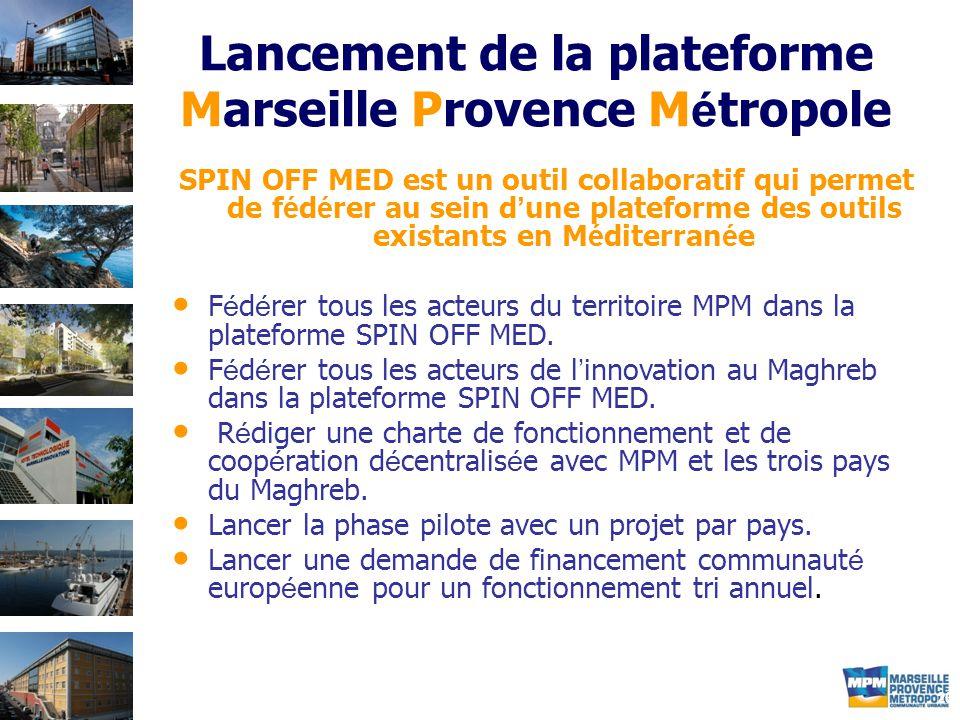 20 Lancement de la plateforme Marseille Provence M é tropole SPIN OFF MED est un outil collaboratif qui permet de f é d é rer au sein d ' une plateforme des outils existants en M é diterran é e F é d é rer tous les acteurs du territoire MPM dans la plateforme SPIN OFF MED.