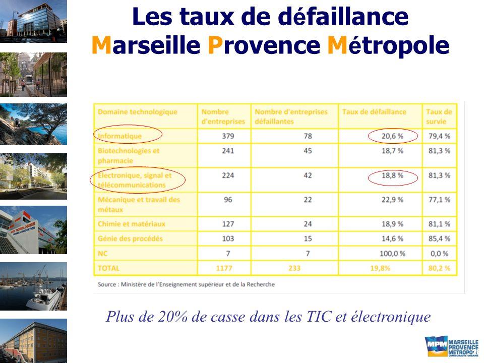 20 Les taux de d é faillance Marseille Provence M é tropole Plus de 20% de casse dans les TIC et électronique