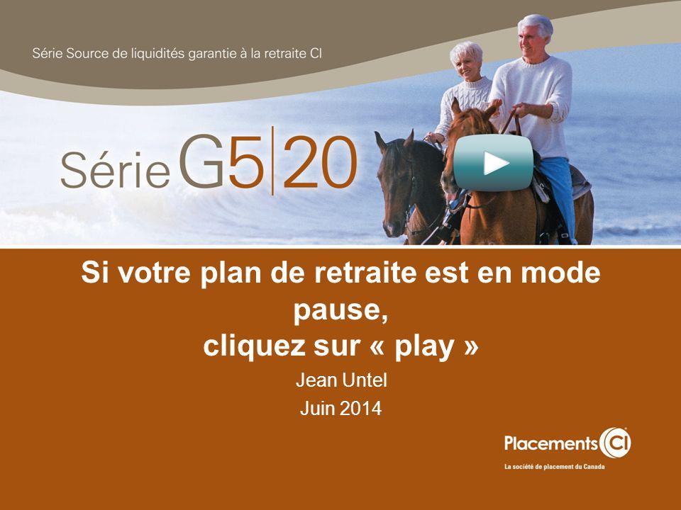 Si votre plan de retraite est en mode pause, cliquez sur « play » Jean Untel Juin 2014