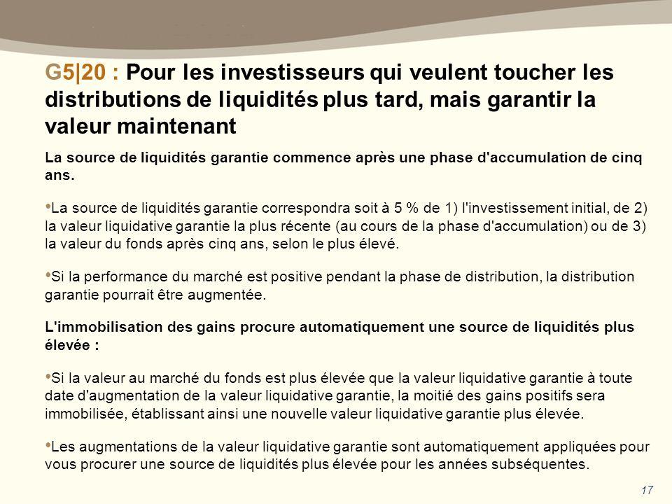 La source de liquidités garantie commence après une phase d accumulation de cinq ans.
