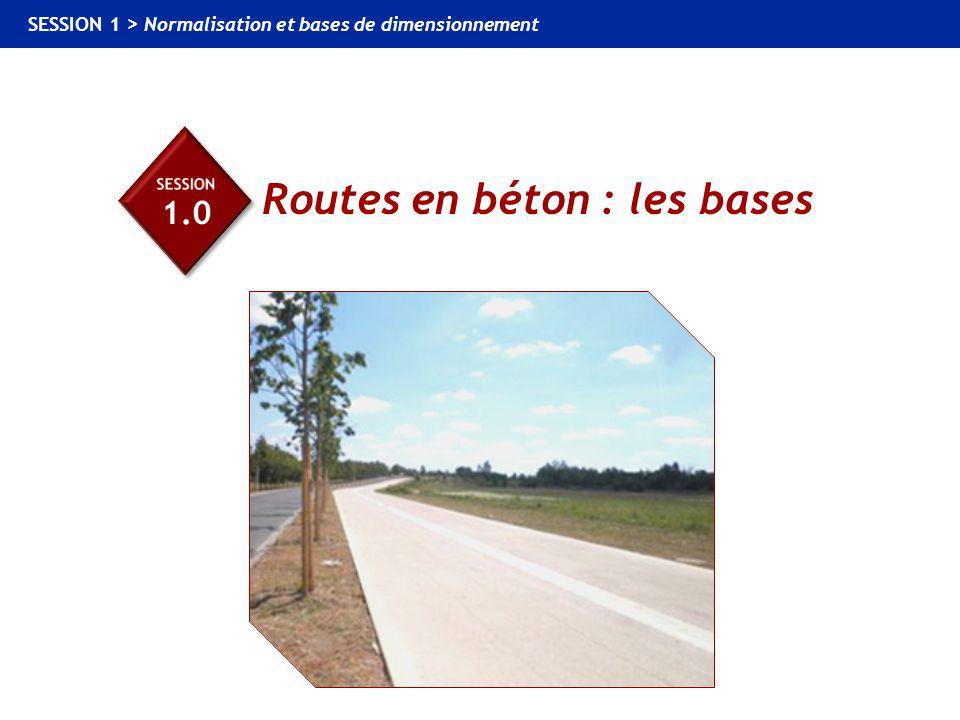 1.0 Routes en béton : les bases SESSION 1 > Normalisation et bases de dimensionnement LE PROJET ROUTIER : UN ENCHAÎNEMENT DE CHOIX CHOIX DU TRACÉ SOLUTIONS TECHNIQUES CHOIX DE LA SOLUTION SOLS RENCONTRÉS PARAMÈTRES DE NATURE PARAMÈTRES D'ÉTAT CHOIX DE LA PORTANCE CHOIX DE LA STRATÉGIE DE DIMENSIONNEMENT CRITÈRES TECHNICO-ÉCONOMIQUES TRAFIC CUMULÉ CHOIX DES MATÉRIAUX ASSURE DES LIAISONS PERMET DES ÉCHANGES CHOIX DU TRAFIC DIMENSIONNEMENT