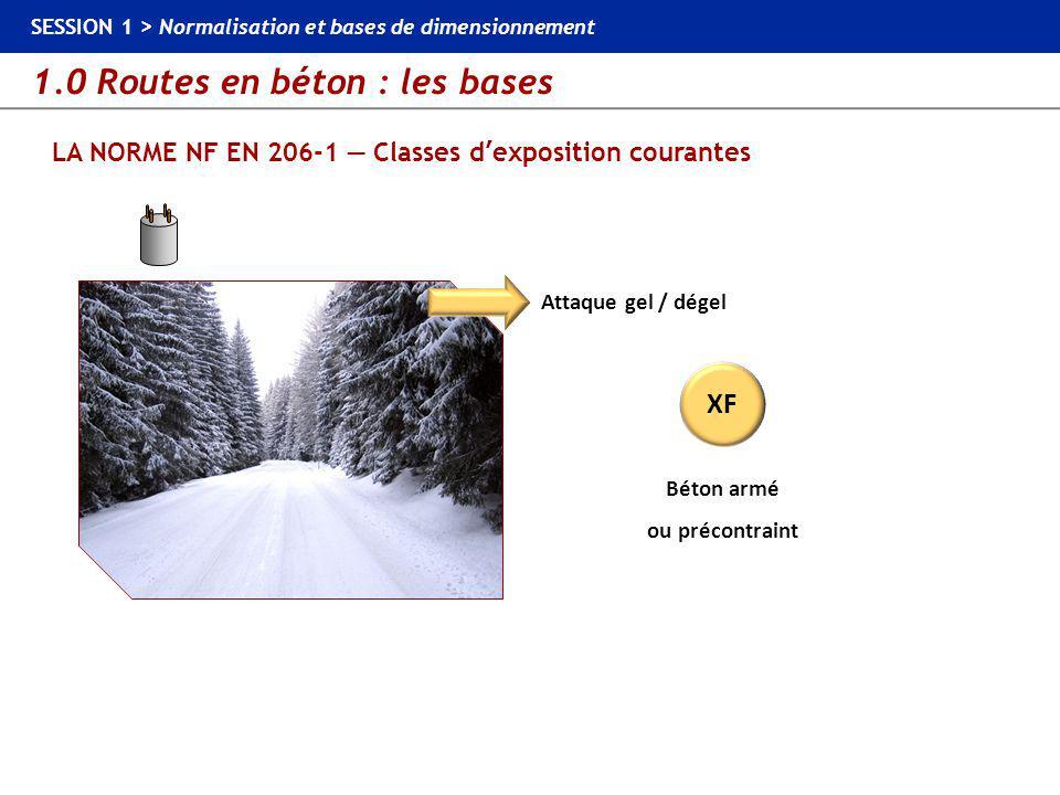 1.0 Routes en béton : les bases SESSION 1 > Normalisation et bases de dimensionnement LES NORMES MATÉRIAUX — Normes constituants du béton Ciments : NF EN 197-1 Granulats : NF EN 12620 + XP P 18-545 Eau de gâchage : NF EN 1008 Adjuvants : NF EN 934-2 Aciers : NF EN 10080 Goujons : NF EN 13877-3