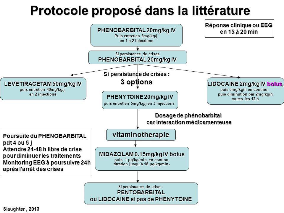 Protocole proposé dans la littérature PHENOBARBITAL 20mg/kg IV Puis entretien 5mg/kg/j en 1 à 2 injections Si persistance de crises PHENOBARBITAL 20mg