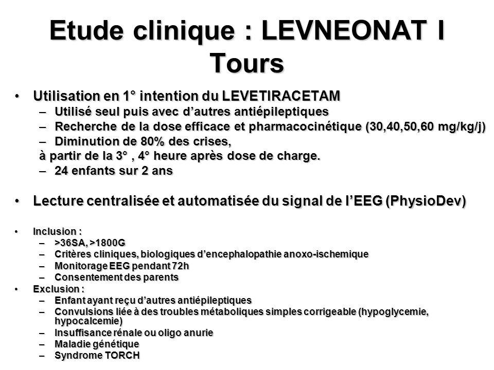 Etude clinique : LEVNEONAT I Tours Utilisation en 1° intention du LEVETIRACETAMUtilisation en 1° intention du LEVETIRACETAM –Utilisé seul puis avec d'