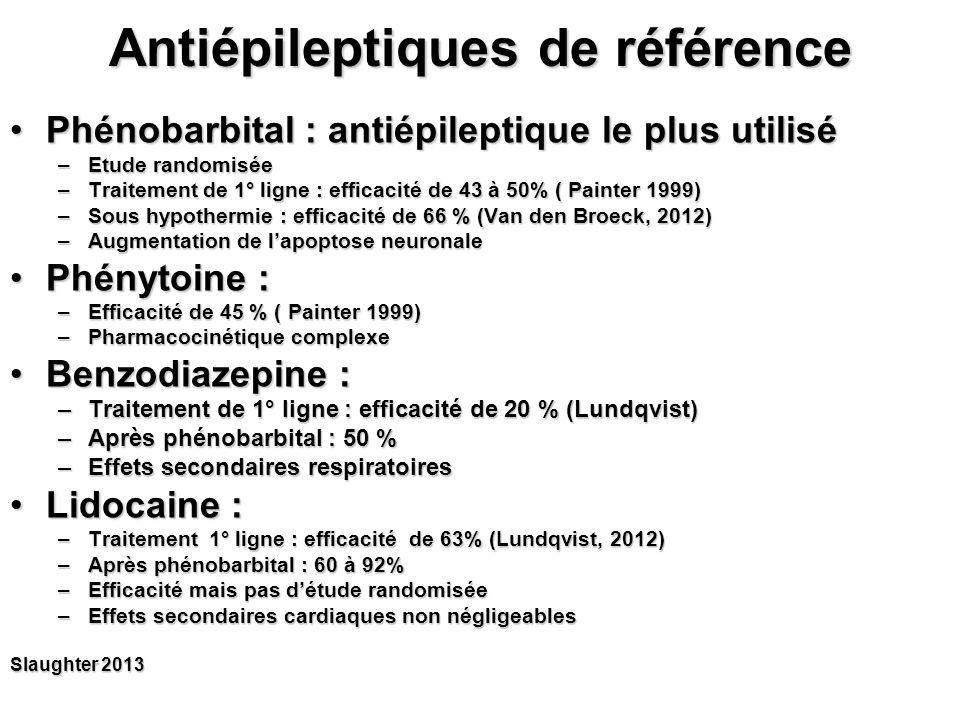 Arrivée de nouveaux antiépileptiques Topiramat (epitomax)Topiramat (epitomax) –Etude clinique réduite favorable mais pas de forme IV Lévétiracétam (keppra)Lévétiracétam (keppra) –Pas d'étude clinique randomisée Bumétanide (burinex) : inhibiteur spécifique du co-transporteur NKCC1Bumétanide (burinex) : inhibiteur spécifique du co-transporteur NKCC1 –Chez le raton : efficacité prouvée du bumétanide seul et associé au phénobarbital –Chez le nouveau-né : études en cours