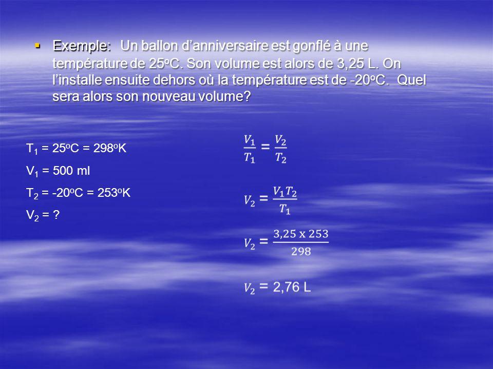  Exemple: Un ballon d'anniversaire est gonflé à une température de 25 o C. Son volume est alors de 3,25 L. On l'installe ensuite dehors où la tempéra