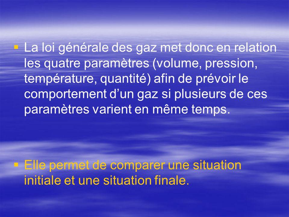  La loi générale des gaz met donc en relation les quatre paramètres (volume, pression, température, quantité) afin de prévoir le comportement d'un