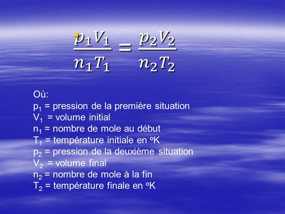 Où: p 1 = pression de la première situation V 1 = volume initial n 1 = nombre de mole au début T 1 = température initiale en o K p 2 = pression de la