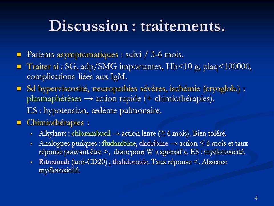 4 Discussion : traitements. Patients asymptomatiques : suivi / 3-6 mois. Patients asymptomatiques : suivi / 3-6 mois. Traiter si : SG, adp/SMG importa