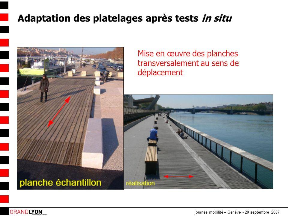 journée mobilité – Genève - 20 septembre 2007 Adaptation des platelages après tests in situ Mise en œuvre des planches transversalement au sens de déplacement
