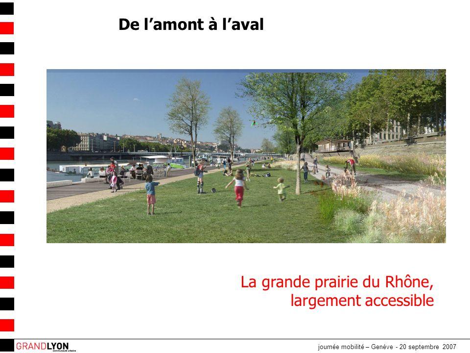 journée mobilité – Genève - 20 septembre 2007 La grande prairie du Rhône, largement accessible De l'amont à l'aval