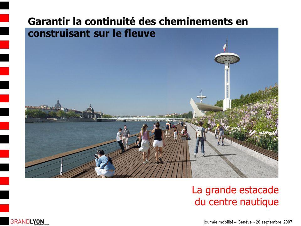 journée mobilité – Genève - 20 septembre 2007 Utiliser les matériaux des Berges pour aider à la partition des usages et à la détection Têtes de chat et pavés le long de la pierre de rive Promenade béton et rubans de glisse en enrobé