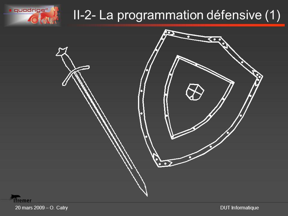 20 mars 2009 – O. CatryDUT Informatique II-2- La programmation défensive (1)
