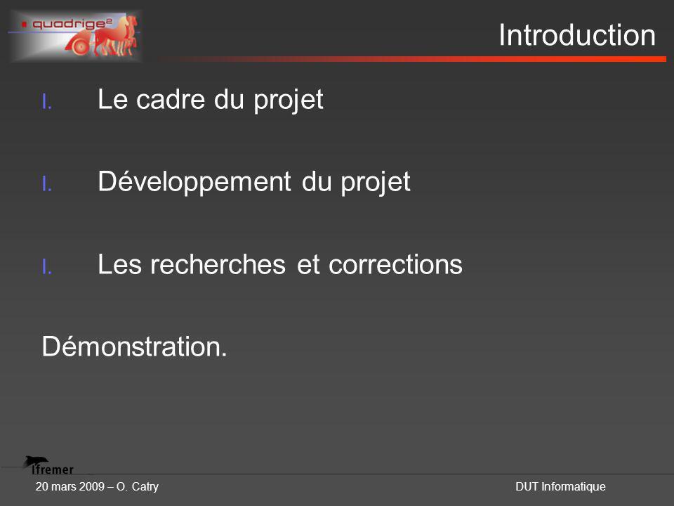 20 mars 2009 – O. CatryDUT Informatique Introduction I. Le cadre du projet I. Développement du projet I. Les recherches et corrections Démonstration.
